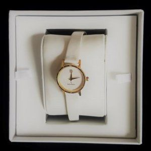 Peugeot Vintage White Leather & Gold Watch